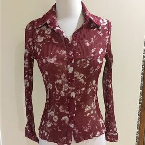 Tops - Sparkly Red Pleated Floral Shirt